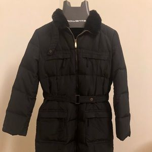 Knee length down puffer jacket with fur collar